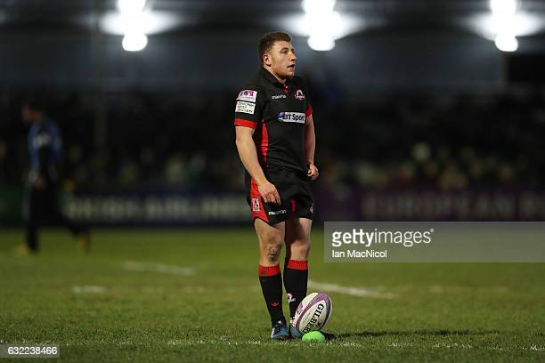 Duncan Weir of Edinburgh is seen during the European Rugby Challenge Cup match between Edinburgh Rugby and Timisoara Saracens at Myreside on January...