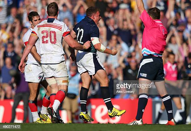 Duncan Weir of Scotland celebrates his teams fifth try during the 2015 Rugby World Cup Pool B match between Scotland and USA at Elland Road on...