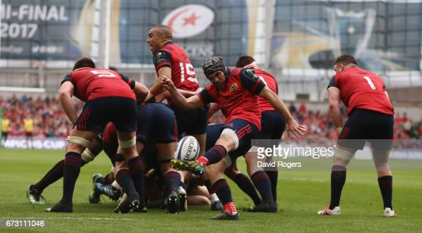 Duncan Williams of Munster kicks the ball upifield during the European Rugby Champions Cup semi final match between Munster and Saracens at the Aviva...