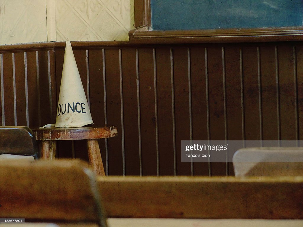 Dunce hat vintage classroom school : Stock Photo