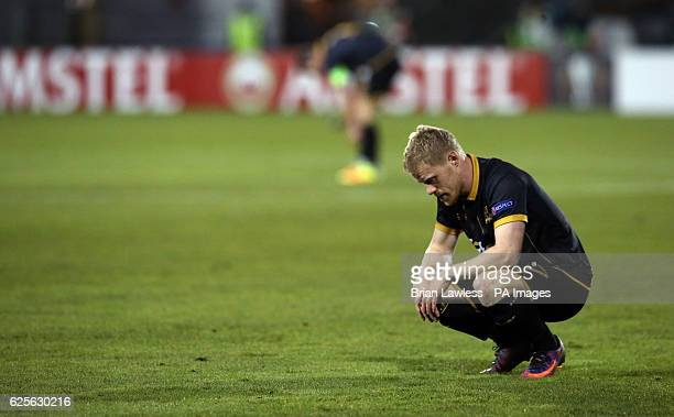 Dundalk's Daryl Horgan sits dejected after the UEFA Europa League match at Tallaght Stadium Dublin