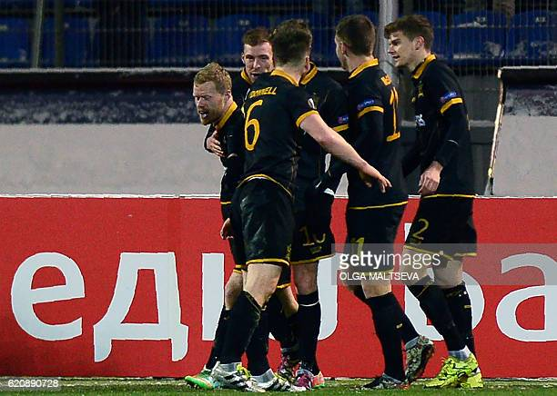 Dundalk's players celebrate a goal during the UEFA Europa League group D football match between FC Zenit and Dundalk FC in Saint Petersburg on...