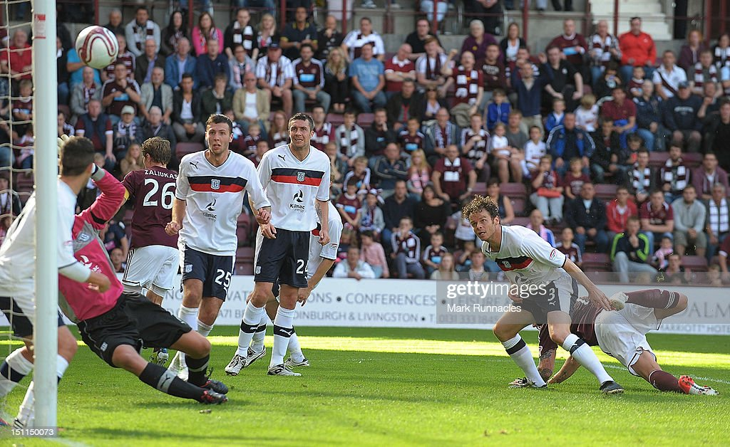 Dundee defenders watch on as the ball is saved by goalkeeper Robert Douglas during the Clydesdale Bank Scottish Premier League match between Hearts and Dundee at Tyncastle Stadium on September 2, 2012 in Edinburgh, Scotland.