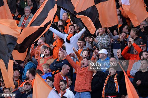 Dundee United fans ahead of the Ladbrokes Scottish Premiership match between Dundee United FC and Dundee FC at Tannadice Park on March 20 2016 in...
