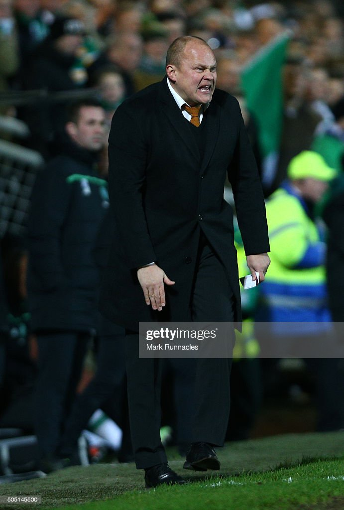 Dundee United manager Mixu Paatelainen gestures from the sideline during the Ladbrokes Scottish Premiership match between Celtic FC and Dundee United FC at Tannadice Park on January 15, 2016 in Dundee, Scotland.