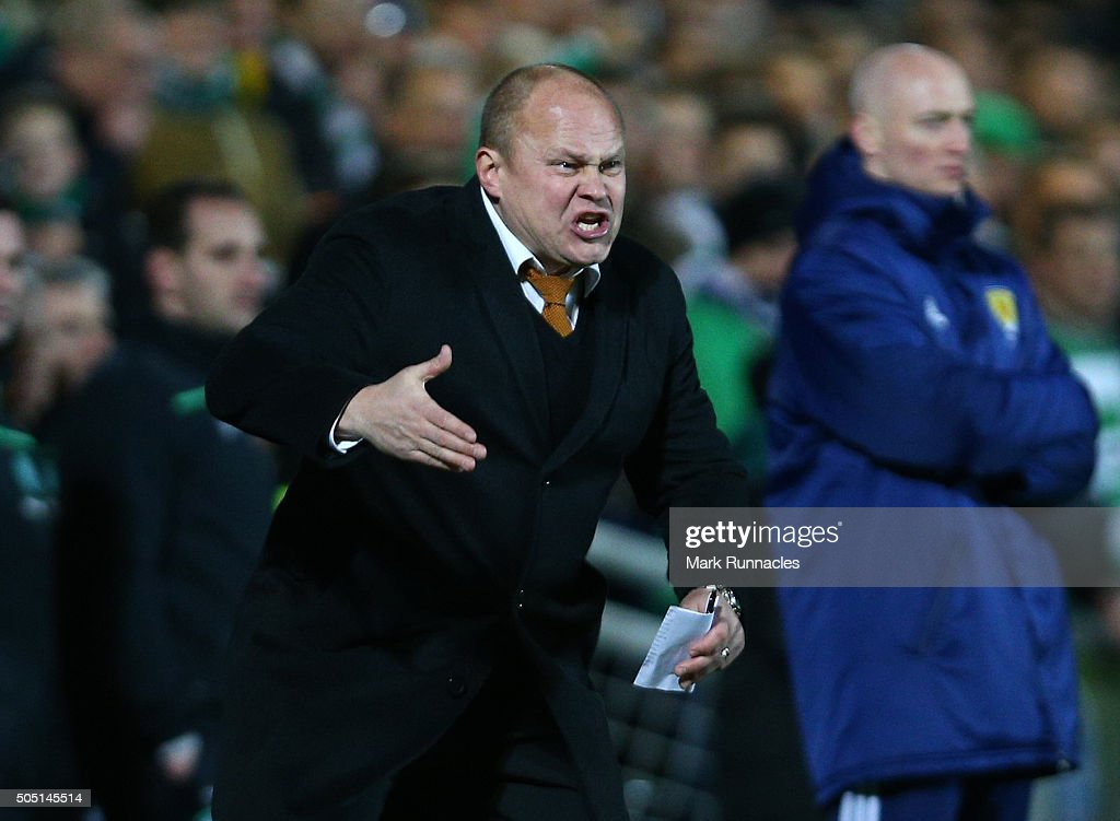 Dundee United manager Mixu Paatelainen gestures from the sideline during the Ladbrokes Scottish Premiership match between Celtic FC and Dundee United...