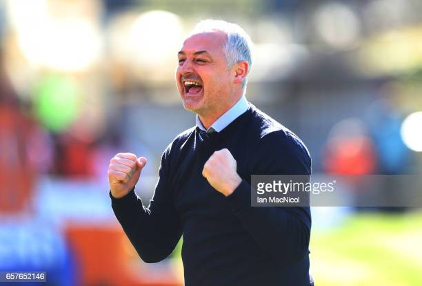 Dundee United manager Ray McKinnon celebrates during the IrnBru Cup Final between Dundee United and St Mirren at Fir Park on March 25 2017 in...