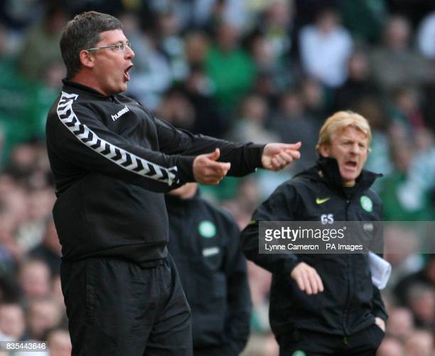 Dundee United's manager Craig Levein and Celtic manager Gordon Strachan during the Clydesdale Bank Scottish Premier League match at Celtic Park...