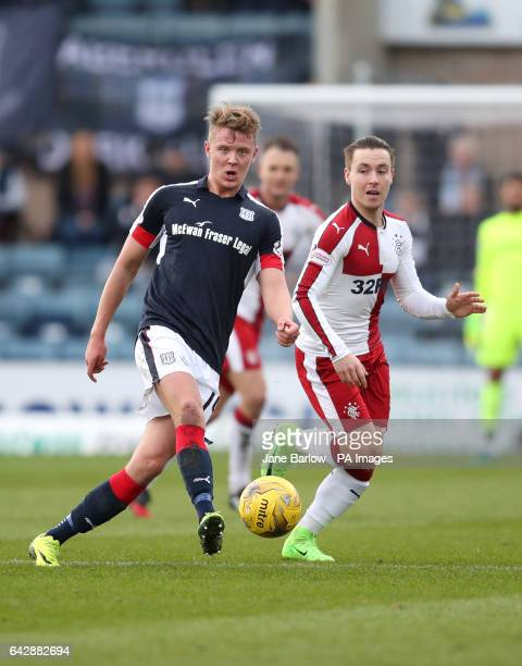 Dundee's Mark O'Hara and Rangers' Barrie McKay battle for the ball during the Ladbrokes Scottish Premiership match at Dens Park Dundee