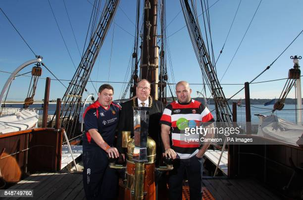 Dundee's Neil Dymock Dundee Lord Provost Bob Duncan and Stirling County's Alex Moffat during the British and Irish Cup Launch at Discovery Quay Dundee