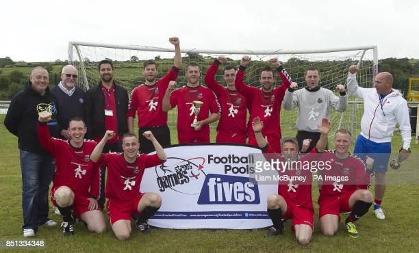 Dundonald Football Club celebrate winning the Plate Final during the Cup Final between during the StreetGames Football Pools Fives at the Billy Neill...