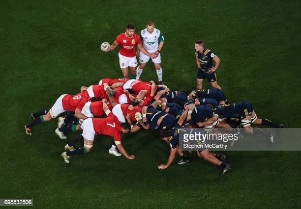 Dunedin New Zealand 13 June 2017 Referee Angus Gardner watches over a scrum during the match between the Highlanders and the British Irish Lions at...