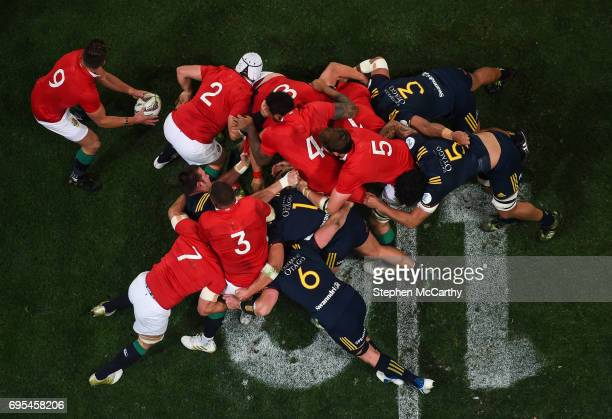 Dunedin New Zealand 13 June 2017 Rhys Webb of the British Irish Lions prepares to play the ball from a maul during the match between the Highlanders...