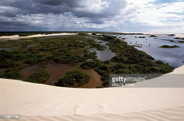 Dunes Morro da Medanha the highest point in Pequenos Lencois Lencois Maranhenses National Park State of Maranhao Brazil