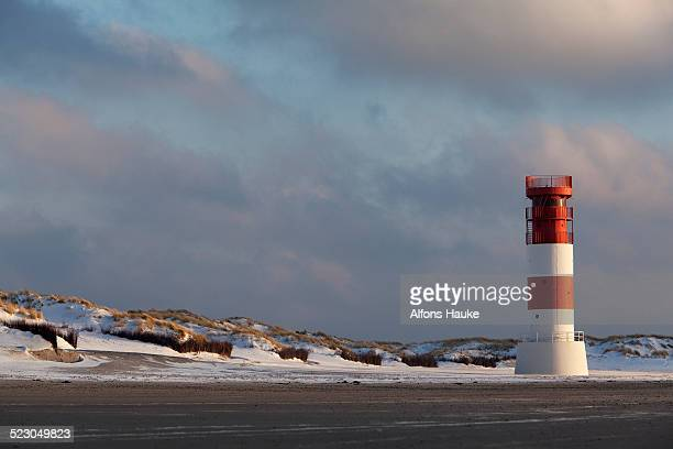 Dunes with a lighthouse, Helgoland, Schleswig-Holstein, Germany, Europe
