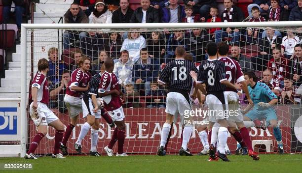 Dunfermline's Jim Hamilton scores against Hearts' during the Bank of Scotland Premier League match at Tynecastle Stadium Edinburgh
