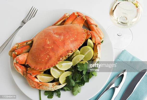 Dungeness Crab Seafood Dinner, Cooked, Prepared, and Served with Wine