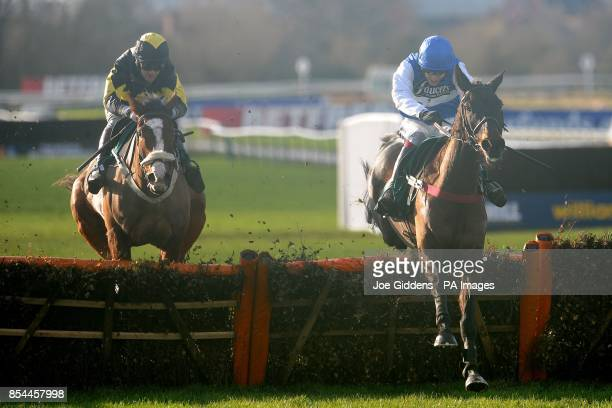 Dungeness ridden by Aidan Coleman jumps the last fence and goes on to win the Betfred Goals Galore Novices' Handicap Hurdle during the Betfred...