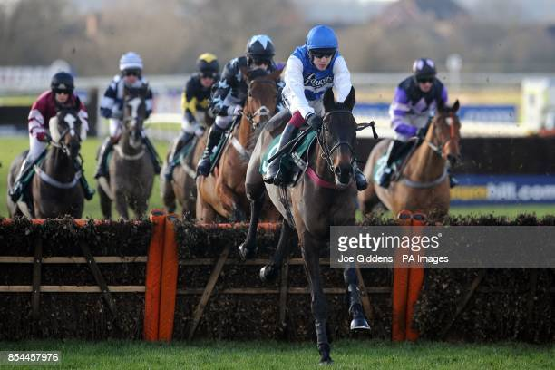 Dungeness ridden by Aidan Coleman leads from the start and goes on to win the Betfred Goals Galore Novices' Handicap Hurdle during the Betfred...