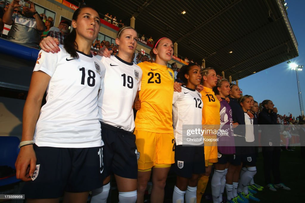 Dunia Susi, Gemma Bonner, Siobhan Chamberlain, Jesssica Clarke and Rachel Brown of England stan up for the national anthem prior to the UEFA Women's EURO 2013 Group C match between England and Spain at Linkoping Arena on July 12, 2013 in Linkoping, Sweden.