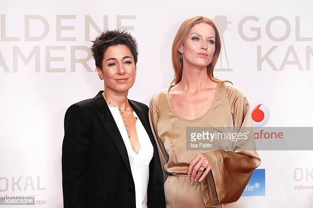 Dunja Hayali and Esther Schweins attend the Goldene Kamera 2016 on February 6 2016 in Hamburg Germany