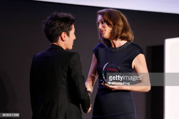 Dunja Hayali and Katarina Barley attend the Emotion Award at Laeiszhalle on June 28 2017 in Hamburg Germany