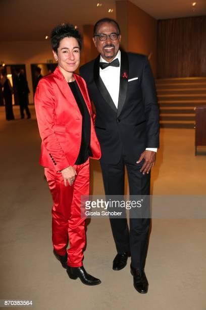 Dunja Hayali and Michel Sidibe Unaids Executive Director during the 24th Opera Gala benefit to Deutsche AidsStiftung at Deutsche Oper Berlin on...