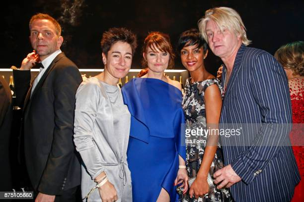 Dunja Hayali Ina Paule Klink Dennenesch Zoude and Detlev Buck pose at the Bambi Awards 2017 party at Atrium Tower on November 16 2017 in Berlin...