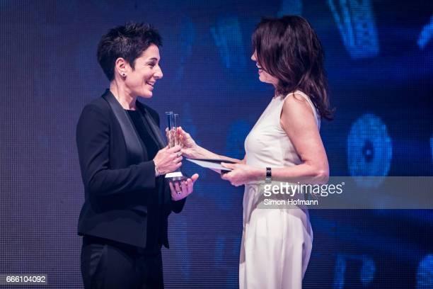 Dunja Hayali is awarded by Iris Berben during the Radio Regenbogen Award 2017 at Europapark on April 7 2017 in Rust Germany