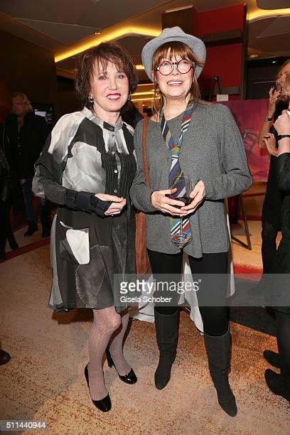 Dunja Siegel and Katja Ebstein during the 'Christine Neubauer Hautnah' exhibition opening at Hotel Vier Jahreszeiten on February 20 2016 in Munich...