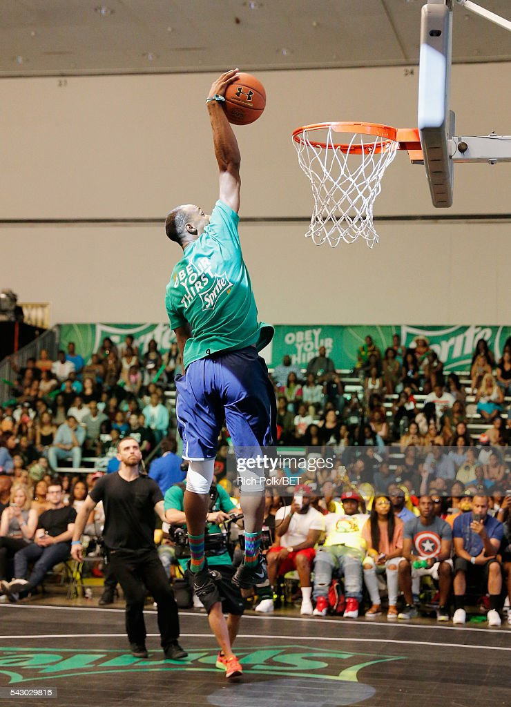 Dunk artist Brandon Lacue participates in the slam dunk contest during the 2016 BET Experience on June 25, 2016 in Los Angeles, California.