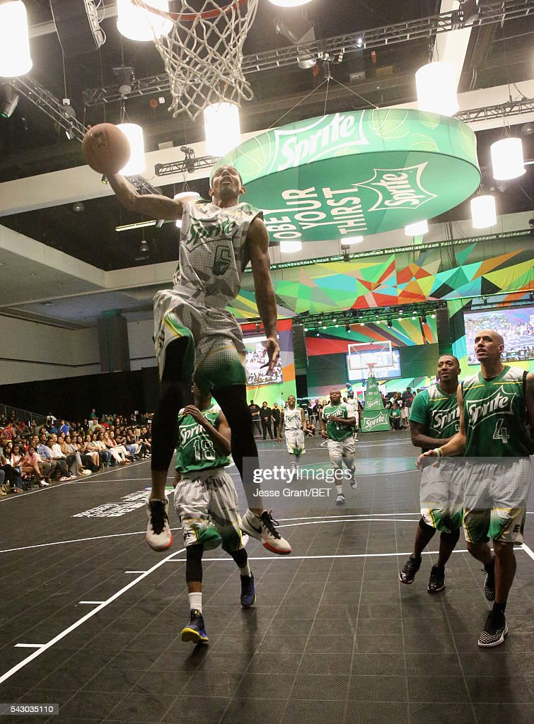 Dunk artist Guy Dupuy participates in the celebrity basketball game presented by Sprite during the 2016 BET Experience on June 25, 2016 in Los Angeles, California.