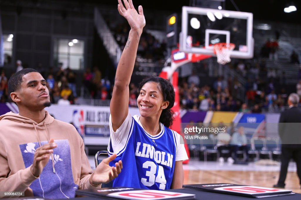 Dunk contest judge, Candance Parker #3 of the Los Angeles Sparks waves to the crowd during the 2018 NBA G-League Slam Dunk contest as a part of 2018 NBA All-Star Weekend at Verizon Up Arena at LACC on February 18, 2018 in Los Angeles, California.