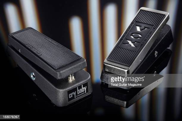 This image has been digitally manipulated Dunlop Cry Baby Classic GCB95F and Vox V846HW electric guitar wahwah effects pedals photographed during a...