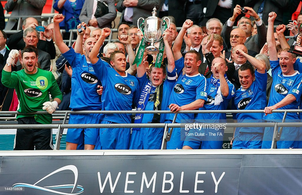 Dunston UTS players lift the trophy after winning The FA Carlsberg Vase Final between Dunston UTS and West Auckland Town at Wembley Stadium on May 13, 2012 in London, England.