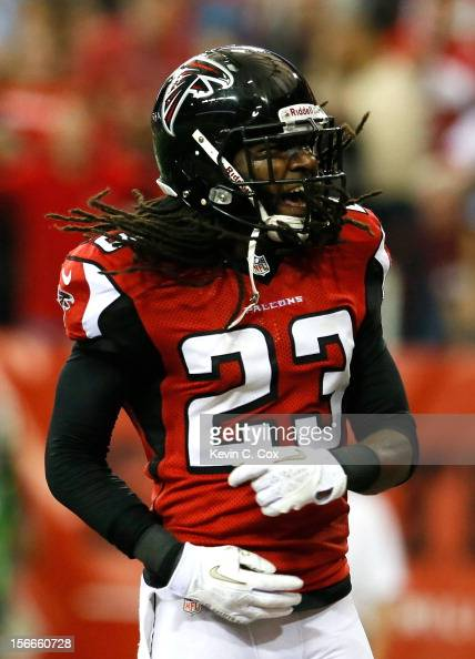 Dunta Robinson of the Atlanta Falcons reacts after a defensive stop on fourth down against the Arizona Cardinals at Georgia Dome on November 18 2012...