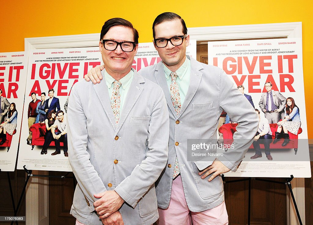 DJ duo Andrew and Andrew attend the 'I Give It A Year' New York Screening at the Crosby Street Theater on July 30, 2013 in New York City.