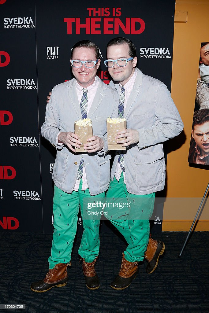 DJ duo AndrewAndrew attend 'This Is The End' New York Premiere at Sunshine Landmark on June 10, 2013 in New York City.