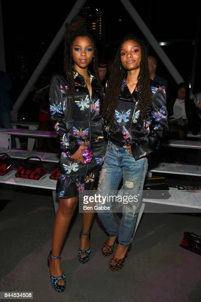 B duo Chloe x Halle attend the Jeremy Scott Fashion Show during New York Fashion Week at Spring Studios on September 8 2017 in New York City