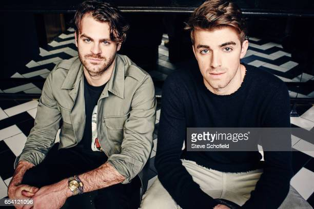 DJ duo the Chainsmokers Drew Taggart and Alex Pall are photographed for Billboard magazine on November 21 2016 in Los Angeles California