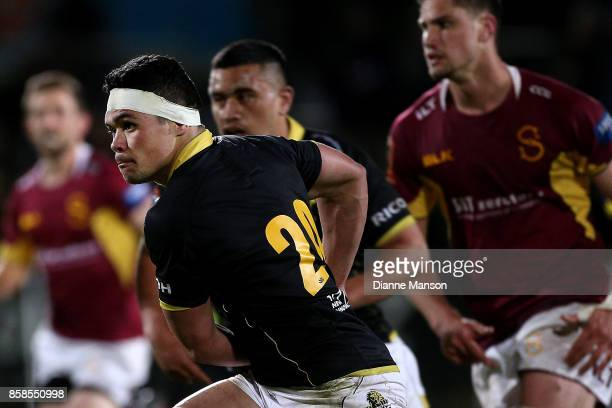 Du'Plessis Kirifi of Wellington runs the ball during the round eight Mitre 10 Cup match between Southland and Wellington at Rugby Park Stadium on...