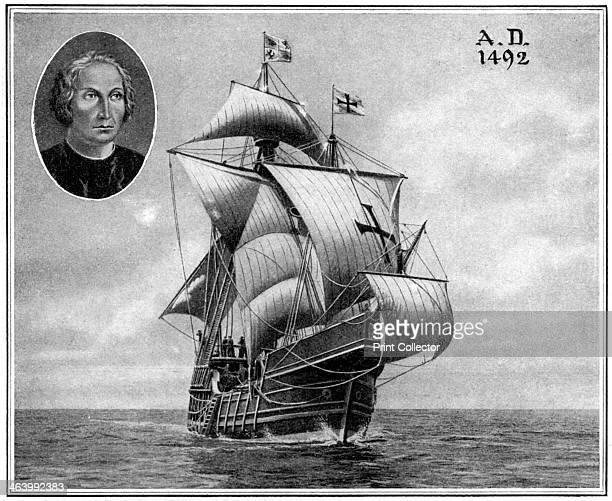 A duplicate of one of Christopher Columbus' sailing ships 1922 Featuring an inset of Columbus This duplicate was sailed across the Atlantic for the...