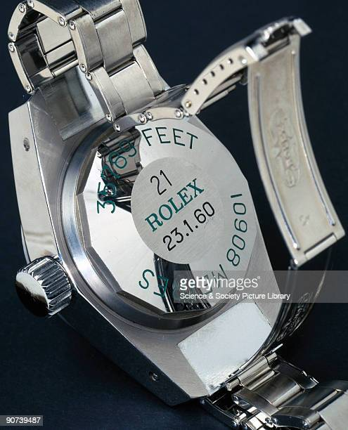 Duplicate without movement of a Rolex Oyster wristwatch which remained waterproof at a depth of seven miles The original model was fixed to the...