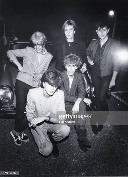 Duran Duran group portrait Simon Le Bon Nick Rhodes John Taylor Roger Taylor Andy Taylor Ontmoetingscentrum Harelbeke Belgium 9th September 1981