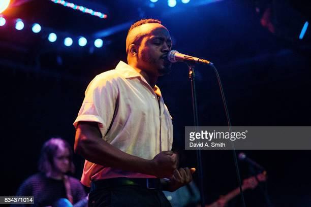 Durand Jones of Durand Jones and The Indications performs at Saturn Birmingham on August 17 2017 in Birmingham Alabama