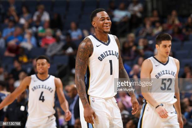 Durand Scott of the Memphis Grizzlies reacts during a preseason game against the New Orleans Pelicans on October 13 2017 at FedExForum in Memphis...