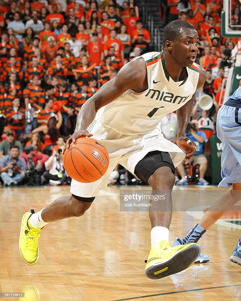 Durand Scott #1 of the Miami Hurricanes dribbles the ball against the North Carolina Tar Heels on February 9, 2013 at the BankUnited Center in Coral Gables, Florida. Miami defeated North Carolina 87-61.