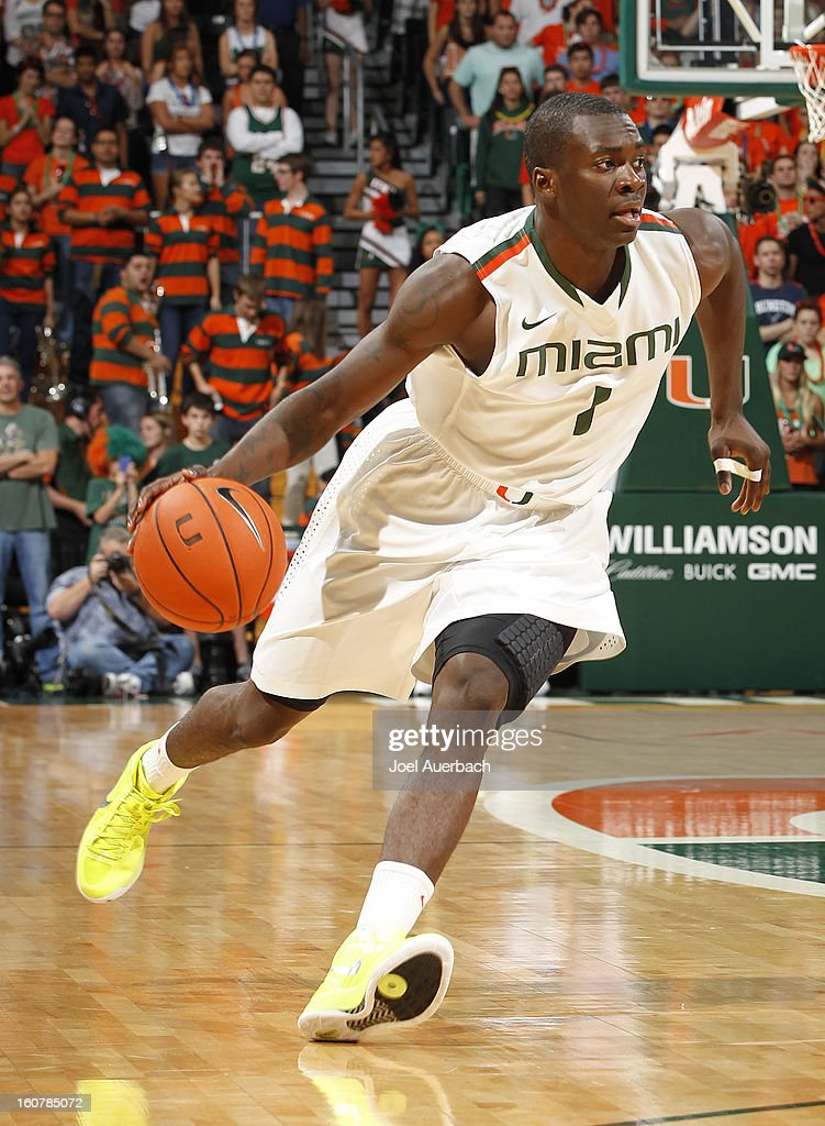 Durand Scott #1 of the Miami Hurricanes drives to the basket against the Boston College Eagles on February 5, 2013 at the BankUnited Center in Coral Gables, Florida. The Hurricanes defeated the Eagles 72-50.