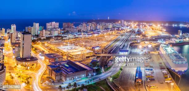 Durban cityscape evening panorama with the harbour