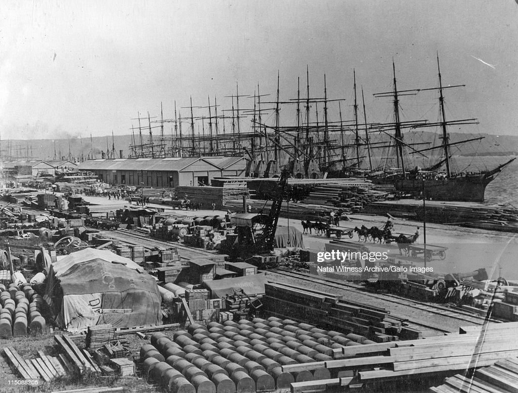 Durban harbour A sight never to be seen again — windjammers tied up at the wharf Even at this date Durban was proving to be a major port